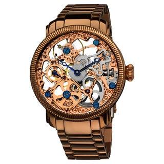 Akribos XXIV Men's Stainless Mechanical Skeleton Rose-Tone Bracelet Watch