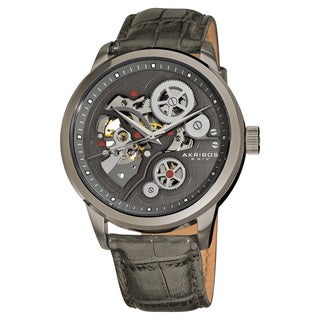 Akribos XXIV Men's Hand-Wind Mechanical Skeleton Leather Strap Watch