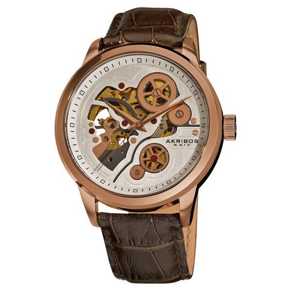 Akribos XXIV Men's Mechanical Skeleton Rose-Tone Case Leather-Strap Watch