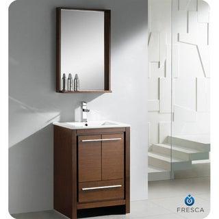 Fresca Allier 24-inch Wenge Brown Modern Bathroom Vanity with Mirror