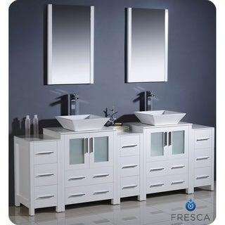 Fresca Torino 84-inch White Modern Bathroom Vanity with Double Vessel Sinks