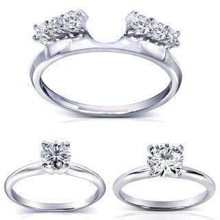 Annello 14k White Gold Round Cut Diamond Wrap or Round Cut Solitaire Ring (H-I, I1-I2)