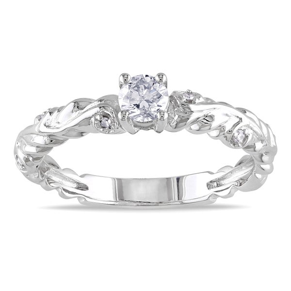Miadora 14k White Gold 1/3ct TDW Diamond Engagement Ring (G-H, I1-I2)