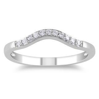 Miadora 14k White Gold 1/10ct TDW Diamond Curved Wedding Band (G-H, I1-I2)