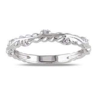 Miadora 14k White Gold Diamond Accent Wedding Band