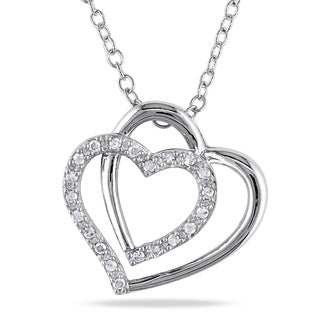 Haylee Jewels Sterling Silver 1/10ct TDW Diamond Heart Necklace (I-J, I2-I3)