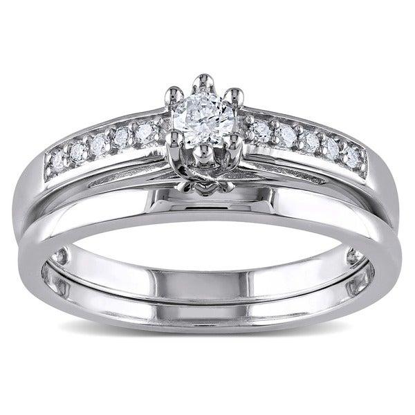 Miadora Sterling Silver 1/4ct TDW Diamond Bridal Ring Set (H-I, I2-I3)