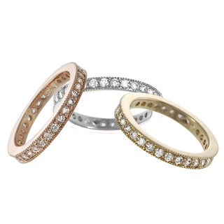 Journee Collection  Sterling Silver White Cubic Zirconia Vintage Eternity Ring