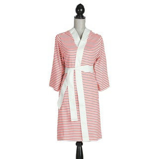 Women's Organic Cotton White and Rose Stripe Bath Robe