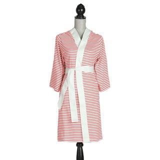 Women's Organic Cotton White and Rose Stripe Bath Robe