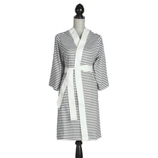 Women's Organic Cotton Silver and White Stripe Bath Robe