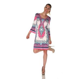 White Mark Women's 'Venezia' Ivory/ Pink Mix Print Dress