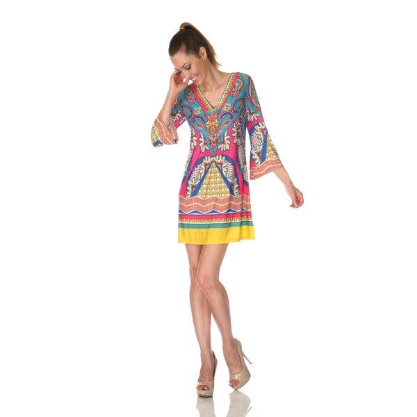 White Mark Women's 'Florence' Pink/ Turquoise Mix Print Dress