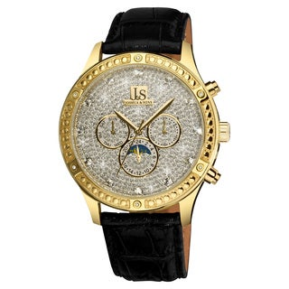 Joshua & Sons Men's Sparkling Mechanical Multifunction Watch with Black Leather Strap