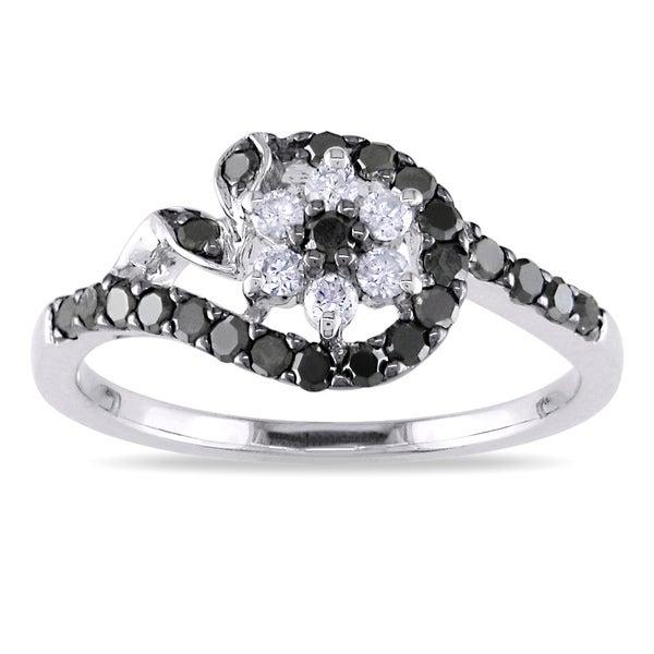 Miadora 10k Gold 1/2ct TDW Black and White Diamond Ring (G-H, I1-I2)