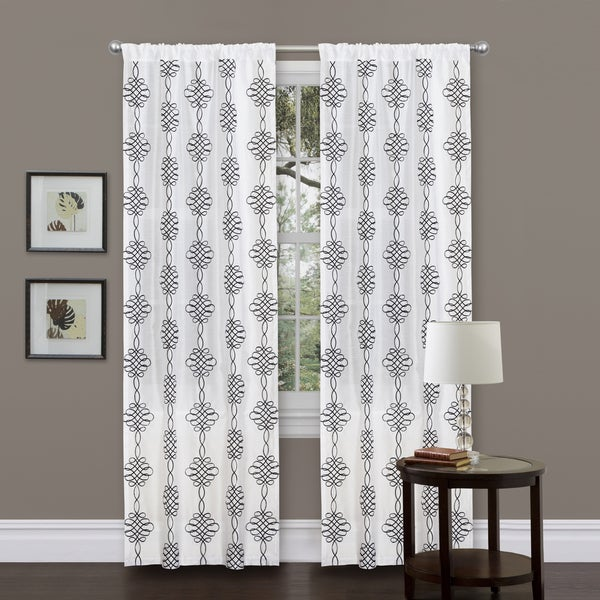 Lush Decor Isabella 84-inch White Curtain Panel
