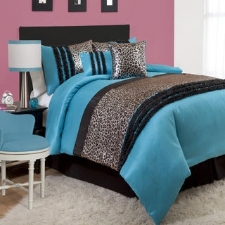 Lush Decor Kenya Black/Blue 6-piece Comforter Set