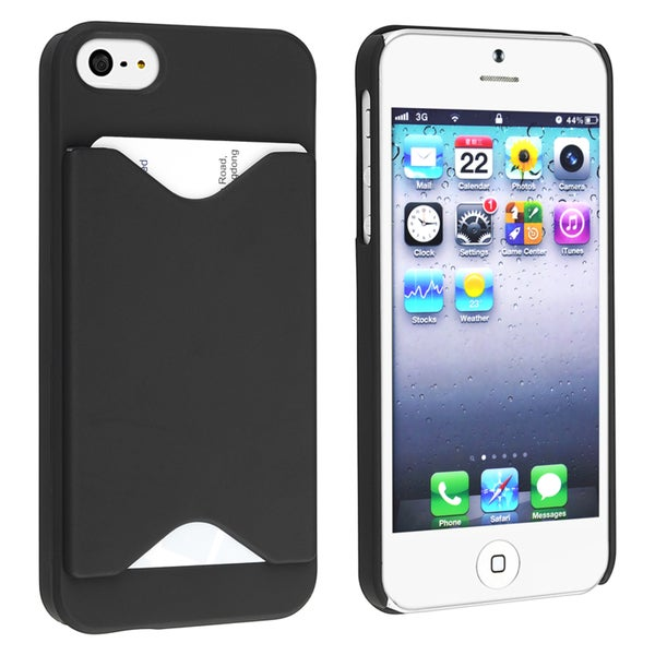 INSTEN Black Snap-on Phone Case Cover with Card Holder for Apple Phone 5/ 5S