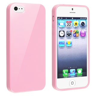 INSTEN Light Pink Jelly TPU Rubber Skin Phone Case Cover for Apple iPhone 5/ 5S