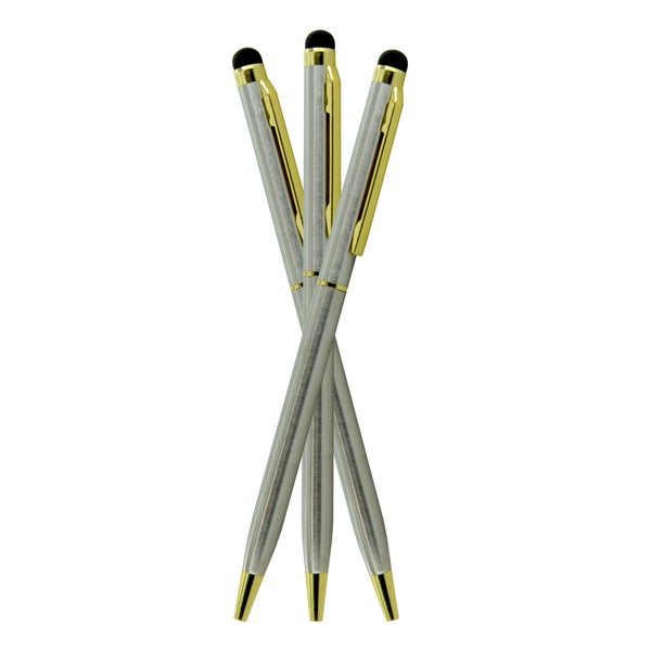 Dual-purpose Stylus and Retractable Ballpoint Pen (Set of 3)