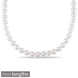 Miadora 14k Yellow Gold 5-5.5mm Cultured Akoya Pearl Necklace (16-20 inch)