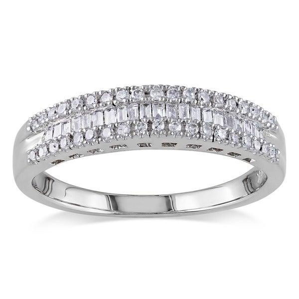 Miadora 14k White Gold 1/4ct TDW Baguette-cut Diamond Ring (G-H, I1-I2)