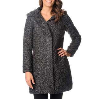 Excelled Women's Wool Blend Boucle Coat with Oversized Hood
