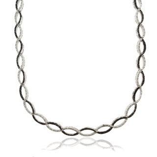 Finesque Silver Overlay 1/4ct TDW Black Diamond Infinity Necklace (I-J, I2-I3)