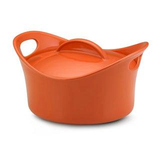 Rachael Ray Stoneware Orange 2.75-quart Casserround Covered Baking Dish