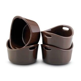 Rachael Ray Stoneware Chocolate 10-oz Bubble and Brown Ramekins (Set of 4)