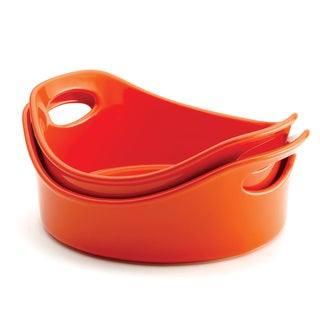 Rachael Ray Stoneware 2-Piece Orange Open Baker Set