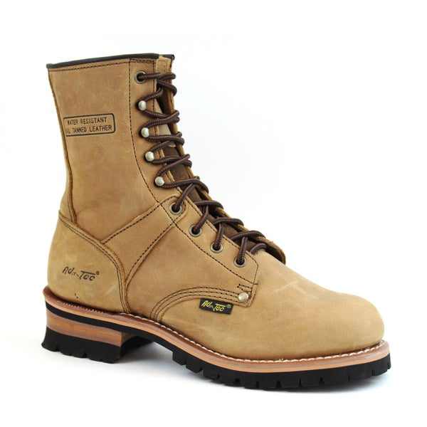 AdTec Men's Brown Crazy Horse Leather Logger Boots