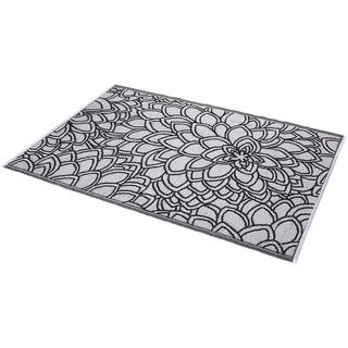 Black and White Indoor/Outdoor Rug (6' x 4') (India)