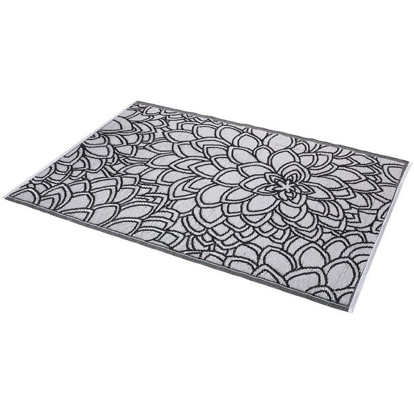 Floral Black and White Indoor/ Outdoor Rug (6' x 4') (India)