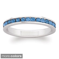 Sterling Silver Birthstone-colored Crystal Eternity Ring