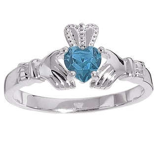 Sterling Silver Birthstone-colored Crystal Claddagh Ring