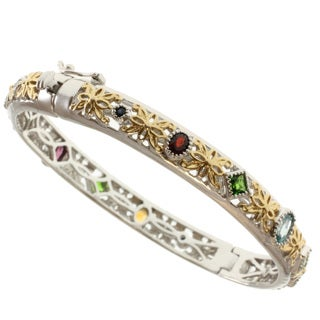 Michael Valitutti Two-tone Multi-gemstone Bangle