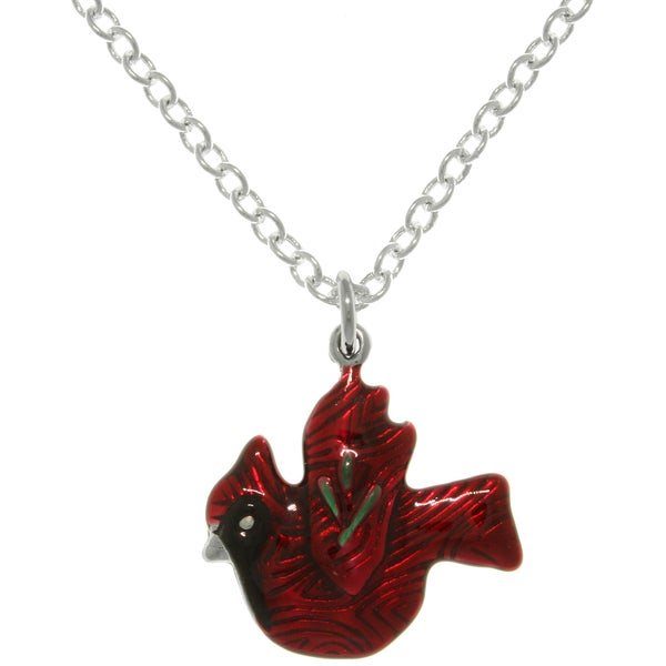 CGC Pewter Red Cardinal Bird Charm Necklace
