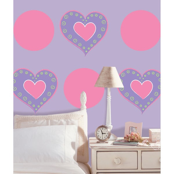 Wall Pops Purple Heart and Flirt Dot Wall Decals