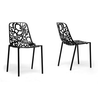 Demeter Black Metal Modern Dining Chairs (Set of 2)