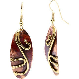 Handcrafted Copper and Brass Oval Earrings (South Africa)