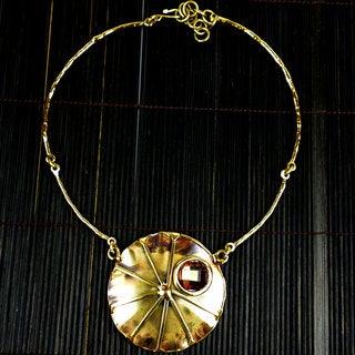 Brass and Topaz Sunburst Necklace (South Africa)