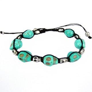 Numinous Smiling Skulls Recontructed Turquoise Bracelet (Thailand)