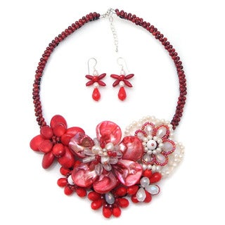 Exuberant Florals Mix Stones Jewelry Set (Thailand)