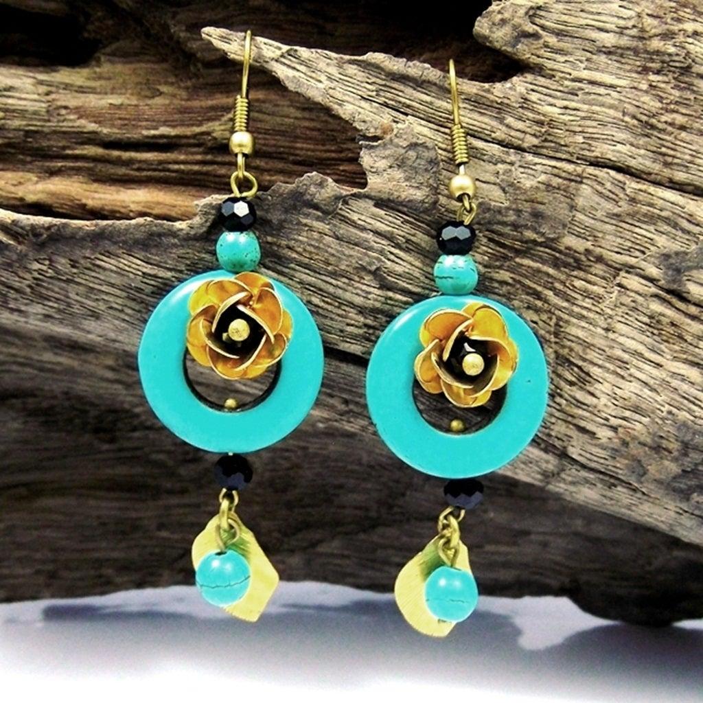 Ruffled Rose Origins Turquoise Stone Brass Earrings (Thailand)