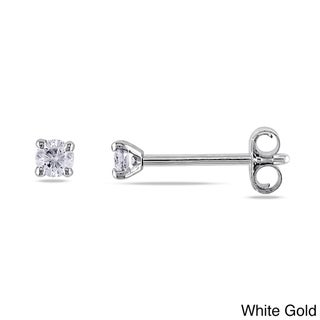 Haylee Jewels 14k White or Yellow Gold 1/10ct TDW Round Diamond Stud Earrings (G-H, SI1-SI2)