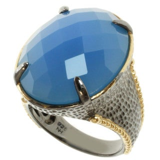 Michael Valitutti Two-tone Blue Chalcedony Ring