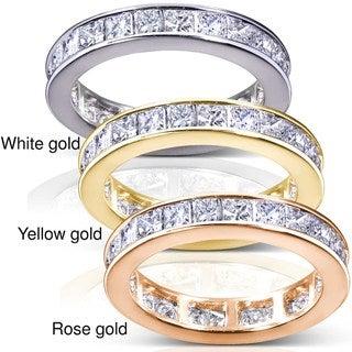 Annello 14k Gold 3ct TDW Princess Diamond Eternity Ring (H-I, I1-I2) with Bonus Item