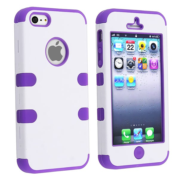 BasAcc Purple Skin/ White Hard Hybrid Case for Apple iPhone 5