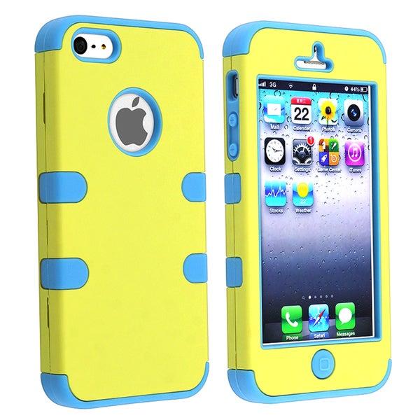 BasAcc Blue Skin/ Yellow Hard Hybrid Case for Apple iPhone 5